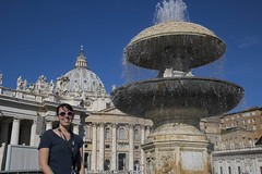 Katie at the Vatican (noname_clark) Tags: italy rome vacation honeymoon vatican stpeter39ssquare katherine fountain water