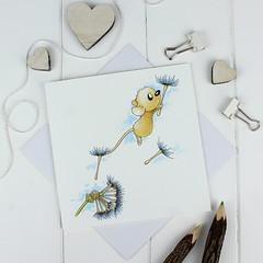 Dandelion Wish Greetings Card (jac.cheekymonkeystudio) Tags: greetingscard birthdaycard partyinvitation watercolour painting ink drawing art illustration mouse wildlife dandelion wish stationary stationery