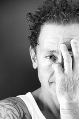 Shooting with Andreas in black and white (alexander.dischoe) Tags: face gesicht arc asia tattoo tätowierung nikon d7100 nikon18200mm nikkor18200mm 18200mm dslr dx shooting indoor light schwarzweiss bw blackandwhite blackwhite porträt portrait