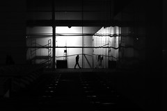 In the strange dream (pascalcolin1) Tags: paris13 nuit night bnf lumire light ombres shadows homme man chelle photoderue streetview urbanarte noiretblanc blackandwhite photopascalcolin