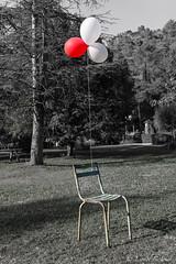 Solitude (Lionelcolomb) Tags: villecroze provencealpescôtedazur france fr solitude chaise exterieur ballon rouge red green vert tree