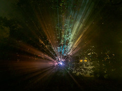 Arrival (Graeme Pow) Tags: arrival alien contact lights forest night dark darkness colour mist fog influencemachine edinburgh georgesquaregardens