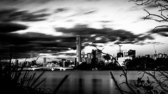 Sunset over Brisbane (river) (josselin.berger) Tags: 18135mm auchenflower australiaaustralian b bw blackandwhite brisbane cbd french k30 nd1000 neutraldensityfilter toowong arbres bulb center centre ciel city clouds day edge longexposure longueexposition nuages nuit pentax sky tour tower trees water