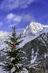 DSC_4418-EditFAA (john.cote58) Tags: seasons winter snow landscape cold mountains switzerland france europe alps swiss french interiordesign design theme ski skiing vacation standout outside outdoors peaks clouds steep sky blue star decoration holidays christmas pine tree