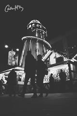Walking in a Winter Wonderland. (Caitlin McEvoy) Tags: nightphotography canon550d canon streetphotography nottingham christmas christmasmarket blackandwhite monochrome