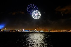 River of Light Firework Display (Pammy'sPics) Tags: skyline anglicancathedral fujixt2 riveroflight liverpool birkenhead wirral rivermersey fireworks display reflection water