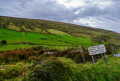 Ireland - County Kerry (WMJ614) Tags: ireland kerry county field sign grass patches patchwork sheep hill mountain rock fence barbed wire post green yellow maroon brown clouds landscape panasonic lumix fz1000