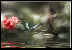 Photo artistry - butterfly pose (mcleod.robbie) Tags: butterfly water fantasy green dream woman peace peaceful rays light