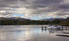 A Relaxing View of the Lake (Audrey A Jackson) Tags: canon60d lakedistrict cumbria water boat mountains trees clouds jetty 1001nightsmagiccity
