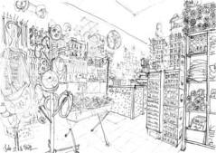 Melle, Valérie Couture - caverne d'Ali Baba (Croctoo) Tags: croctoo croquis croctoofr crayon boutique couture chapeaux melle poitou poitoucharentes magasin atelier