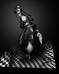 Modernisation (charlotteournesol) Tags: portraitenpied robe charpe brasero kiosque woman moor manteau fur scarf lace dentelle arche cadre handkerchief mouchoir fulllengthportrait architecturaldecor perruque dcordarchitecture pavement damierornement dress billowingtrousers kiosk costumeoriental pantalonbouffant maure orientaldress wig veil femme checkered arch frame fourrure voile coat