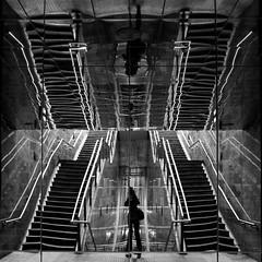 Wobbeling stairs (mennomenno.) Tags: reflections reflecties trappen stairs metrostation subwaystation zwartwit blackwhite rotterdam vierkant square