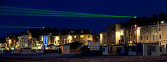 Lasing the Night Away (Non Paratus) Tags: uk england beach night bay noflash lasers dorset bluehour pylons weymouth laserlight weymouthbeach weymouthbay vongphaophanit claireoboussier lightveils