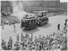Parade along George Street for Waratah spring festival, 13 October 1959 / unknown photographer (State Library of New South Wales collection) Tags: trams statelibraryofnewsouthwales