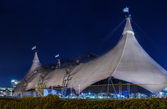 odysseos 125ft white big top goes up (pbo31) Tags: show sanfrancisco california blue horses panorama white color fall night dark site big nikon october large panoramic tent setup traveling stitched missionbay bigtop erect 2015 boury pbo31 d810 odysseos