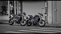 Triumph (Guyom Marais Photography) Tags: street blackandwhite speed photoshop canon eos noiretblanc motorbike 7d triumph moto motorcycle triple speedtriple streettriple oloneo