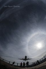 Airplane and sun (yoko.wannwannmaru) Tags: sun airplane jp osaka itami 16mmfisheye ジェット機 千里川 千里川土手 原田大橋 日輪 dsc4281hn