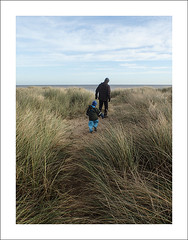Through the dunes (Christa (ch-cnb)) Tags: uk sea beach grass coast sand toddler simone dunes dune norfolk olympus tough eastanglia stefano t4 threeyearold