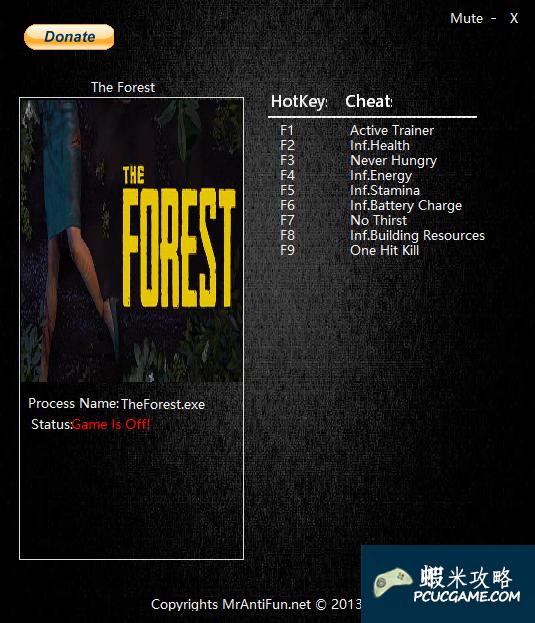 森林 v0.29b九項修改器MrAntiFun版