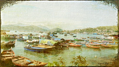 Fishing boats at Cheung Chau (boeckli) Tags: fishing boats vessels boote fischerboote water waterfront wasser hafen texture texturen tte topaz effects painterly ferien holidays urlaub cheungchau hongkong crisbuscaglialenz timjones topaztextureeffects outdoor fishingboats dockbay