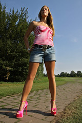 Missy 27 (The Booted Cat) Tags: sexy blonde cute teen girl demin jeans hotpants legs highheels heels sandals