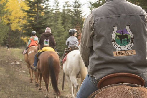 Fall trail rides at Western Pleasure Guest Ranch are the best!  #wpguestranch #guestranch #duderanch #trailride #horsebackriding #visitidaho #aqha #appaloosa #mountains #beautifuldestinations #familytime  Photo by @iloveiliveiride