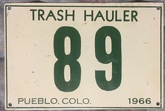 PUEBLO, COLORADO 1966 ---GARBAGE TRUCK, TRASH HAULER SUPPLEMENTAL PLATE (woody1778a) Tags: collection numberplate registrationplate colorado pueblo usa mycollection myhobby woody alpca 1966 collectibles licenseplate citylicense