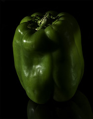 Shadows And Shapes Of A Green Pepper (Bill Gracey) Tags: greenpepper color colorful bareflash yn560iii hardlight shapes shadows vegetable offcameraflash homestudio macrolens yongnuorf603n perspex reflection filllight