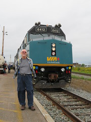 2016-091827 (bubbahop) Tags: 2016 canada canadatrip scenery newbrunswick moncton bubbahop shaved bald head goatee flannel via train locomotive