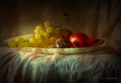 Still Life & Autumn Fruit (MargoLuc) Tags: pomegranate grapes red green fall fruit sweet plum pear clementine purple orange tablecloth light natural window soft vintage style classic painting silver vassoio autumn texture skeletalmess redmatrix
