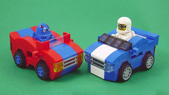 The Rivals (Unijob Lindo) Tags: lego race racing racers mustang chibi mini micro microfighters mighty micros enginerd xalax red blue daytona stripe stripes curved slopes tire car kart karting mario panel tires grille slope helmet fig figure green background rivals block blocks klocki toy toys cars vehicles wacky races
