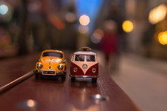 Two (Nathalie Le Bris) Tags: toy bluehour stockholm car two 7dwf bokeh streetlife