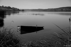 La barque (Frd.C) Tags: barque bw noiretblanc black white lake lac automne france french stpoint water morning