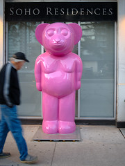 wha? (Ian Muttoo) Tags: dsc77411edit gimp ufraw toronto ontario canada sohoresidences pink bear blur motionblur street