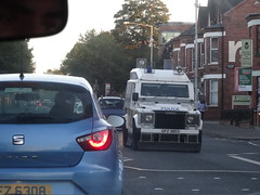 PSNI Tactical Support Group Land Rover Pangolin MK4, on Patrol, South Belfast October 2016 (nathanlawrence785) Tags: psni police service northern ireland ni land rover pangolin ovik penman engineering ruc tangi alr mk4 belfast bankmore street donegal pass patrol tsg tactical support group riot van meat wagon antrim steeple parkhall camp barracks base cctv camera unit the troubles