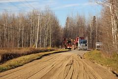 George and the Hood (jr-transport) Tags: peterbilt 378 caterpillar hood slasher log loader heavy logging