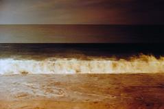 Ebb & Flow (Kelly Marciano) Tags: film analog 35mm canona1 fujifilm velvia100f xpro crossprocess slidefilm filmgrain vignette analogue beach sea ocean sky horizon wave shore scituatema humarockbeach brownbird double doubleexposure multipleexposure