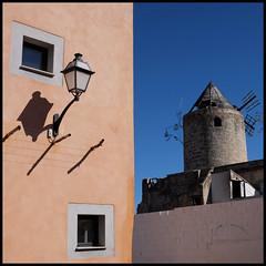 side by side (foto.phrend) Tags: palma square building fujifilm mallorca sky windmill shadow