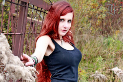 """""""Shy Redhead"""" (dieter felber - kempten) Tags: portrait outdoor girl woman sexy steel cage prisoner submissive domination boobs redhead shy"""