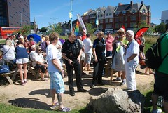 """Gathering for the Plymouth Pride Parade at the Jigsaw Garden • <a style=""""font-size:0.8em;"""" href=""""http://www.flickr.com/photos/66700933@N06/20443776669/"""" target=""""_blank"""">View on Flickr</a>"""
