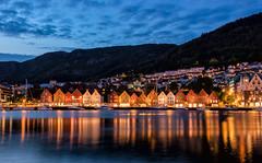 Night Falls on Bryggen (Kristin Repsher) Tags: longexposure summer norway night norge nikon cityscape nightlights d750 bergen bryggen fjordnorway