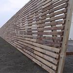 宮崎港において間伐材を有効利用した防風柵のデザインの写真