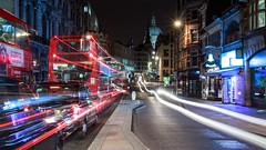 Crosstown Traffic (McQuaide Photography) Tags: road street city uk longexposure greatbritain nightphotography light england urban london architecture night photoshop canon eos evening europe publictransportation traffic unitedkingdom britain availablelight widescreen taxi tripod capital panoramic gb lighttrails fullframe dslr stpaulscathedral 169 1740mm modernarchitecture fleetstreet manfrotto blackcab londonbus lightroom 6d londontaxi lseries capitalcity londontransportation canon6d mcquaidephotography