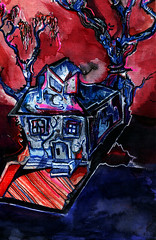 www.czavelle.com (czavelle) Tags: blue red house art watercolor mixed media drawing charles haunted artists uni mitsubishi vermillion prussian tumblr czavelle zavelle