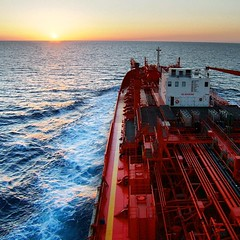 Tanker in sunset...Odfjell Bow Favour in the Mediterian Sea - a nice summer evening a while ago (Gunnar Eide) Tags: ocean sunset square maritime squareformat tanker odfjell iphoneography instagramapp uploaded:by=instagram