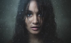 Through the glass (inLite studio) Tags: winter portrait cold wet water girl shower droplets model headshot
