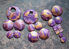 Mokume Gane Polymer Clay Step by Step (earthexpressions) Tags: beads purple clay bead making tutorial polymer gane mokume cabochon earthexpressions