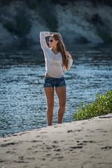 Tabitha (wa2wider) Tags: woman white girl beautiful beauty sunglasses river nikon legs jeans blond shorts tabitha tab d800 legsfordays strobist phottix sb700