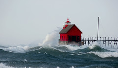 the gales of NOVEMBER (laura's Point of View) Tags: november autumn lighthouse lake storm fall pier waves michigan stormy gales lakemichigan pierhead grandhaven windstorm puremichigan lauraspointofview lauraspov