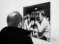 My first exhibition photo! (Street matt) Tags: life blackandwhite bw woman man love modern glamour technology candid lifestyle exhibition busy modernlife presence relationships streetmatt loveoftechnology